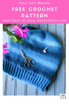 Get that classic knit look with this easy crochet pattern. This hat can be made in any size using the included chart. #freecrochetpattern #crochethatpattern #knithatpattern Crochet Baby Hat Patterns, Crochet Beanie Pattern, Crochet Baby Hats, Free Crochet, Knitted Hats, Knit Crochet, Hairpin Lace Crochet, Tapestry Crochet, Crochet Accessories