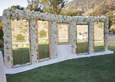 Fancy That! Events, Escort Card Display, Gold Mirrors, Gold Calligraphy, Floral Wall, Hummingbird Nest Ranch