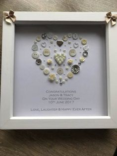 A personal favourite from my Etsy shop https://www.etsy.com/uk/listing/538015673/personalised-wedding-gift-button-art