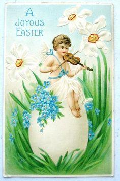 A Joyous Easter Fantasy Angel Plays Violin Emb B W   eBay