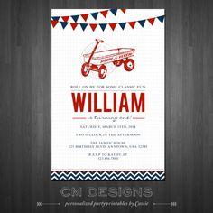 Radio Flyer/Red Wagon Birthday Invite by DesignsbyCassieCM on Etsy