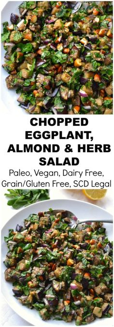 Chopped Eggplant, Almond and Herb Salad