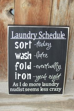 Laundry Room Schedule Board with Vinyl Lettering. $15.00, via Etsy.