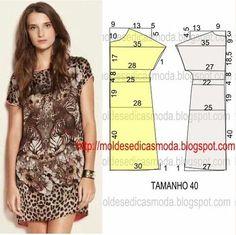 PASSO A PASSO MOLDE DE VESTIDO O molde de vestido encontra-se no tamanho 40. Nota: A ilustração do molde vestido não tem valor de costura. Corte um retângu