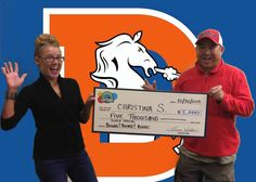 Christina S. loves her some Broncos! She won $5,000 playing the Boing! Boing! Bingo scratch game.