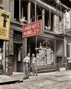 """""""Hotel Lanier -- Habitaciones 25 centimos"""". Nueva York, 1921"""