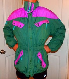 c2fed1fd3 vtg 90's HIP HOP neon pink + green ski jacket parka coat mens medium  waterproof #MARKER #BasicJacket