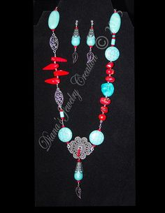 Bamboo Coral, Turquoise dyed Howlite via DJC - Handmade jewelry. Click on the image to see more!