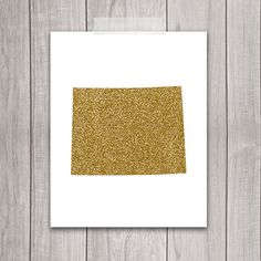 Wyoming Art - 8x10 Gold Glitter, Wyoming State, Art Print, Wyoming Printable Art, State Silhouette, Glitter Print, Wall Art