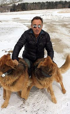 Bruce and his dogs at home.