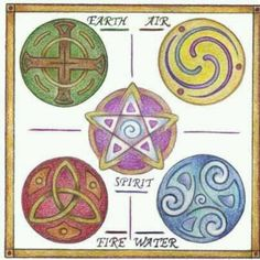celtic inspired elemental sigils. very pretty! would be awesome painted on quarter candles. Pagan Wiccan
