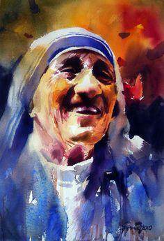 Mother Teresa, by Samir Mondal (Indian, b. Watercolor Artists, Watercolor Portraits, Watercolor Paintings, Watercolors, Catholic Art, Religious Art, Saint Teresa Of Calcutta, Christian Artwork, Realism Art