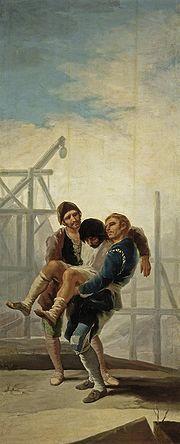 El albañil herido (The Injured Mason), Francisco de Goya, 1786-87.  Museo del Prado.