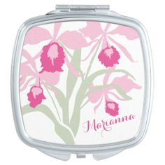 Orchid cattleya graphic flower pink name makeup mirror. Original art and design by www.sarahtrett.com