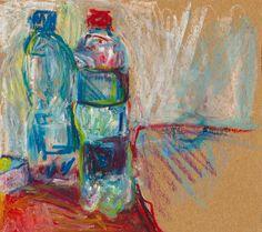 Bottles, 20.5 x 23 cm, pastels oil, 2017 r, Wioleta Przybysz