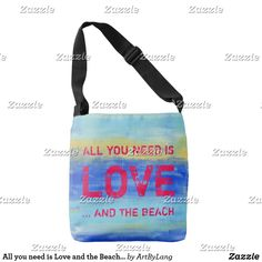 All you need is Love and the Beach - Abstract Art Crossbody Bag Art Store, Design Products, All You Need Is Love, Aqua Blue, Print Design, Abstract Art, Fashion Accessories, Crossbody Bag, My Arts