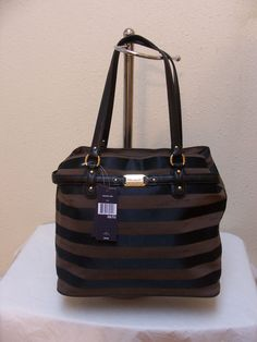 Tommy Hilfiger Tote 6925625 990 Color Black Brown Gold Retail Price $89.00 #TommyHilfiger #TotesShoppers