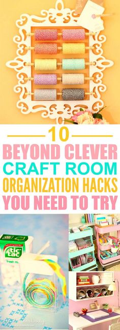 These 10 clever craft room organization hacks are perfect if you're looking to get crafty yet retain some sense of organization! These craft organization ideas are essential for every craft-lover! Organisation Hacks, Organizing Hacks, Hacks Diy, Organising, Scrapbook Organization, Sewing Room Organization, Craft Room Storage, Household Organization, Craft Rooms