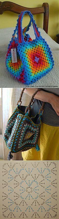 Хорошая идея...сумка из бабушкиного квадрата.