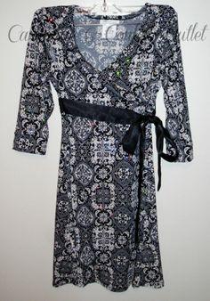 Bonnie Jean Black Gray Sequin Dress Wrap V-Neck Wrap Top Girls Size 10