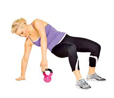 Nine Slimming Kettlebell Moves: Try the 'Reach For It' move to work shoulders, arms, back, abs, obliques, and butt #SelfMagazine