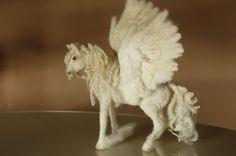 Felted horse, winged horse, Pegasus figurine, needle felting animal, fantasy creature, angel horse, fairy tales