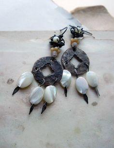 Beaded Earrings - Chandelier Earrings - Hammered Coins, Shell, Rose Quartz, Glass - Rustic Assemblage Earrings. $49.00, via Etsy.