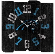 $59.99 - NFL Carolina Panthers Vintage Square Wall Clock - Add vintage-inspired, pro football flair to your office or man cave with the NFL Vintage Wall Clock. Boasting bold numbers in official team colors, this weathered wall clock features the logo of your favorite NFL team and makes a great accent in any room.