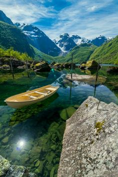 Bondhusdalen, A clear lake fed by a glacier in Norway