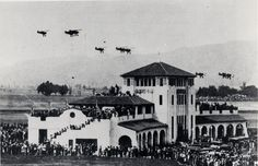 Opening Day at United Airport (now Bob Hope Airport), May 30, 1930. Boeing 12 Pursuits from the 95th Air Squadron and Keystone Bombers from the 11th Bombardment Squadron were featured in a three-day aerial show. Coralie Hewitt Tillack Collection. San Fernando Valley History Digital Library.