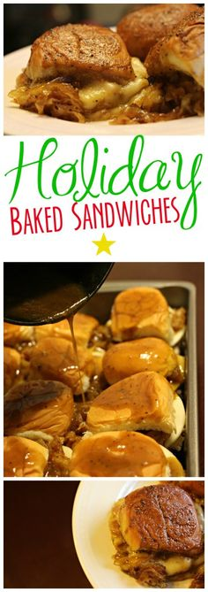 Baked Sandwiches with Caramelized Onions Kings Hawaiian Baked Sandwiches Baked Sandwiches, Slider Sandwiches, Funeral Sandwiches, Kings Hawaiian, Good Food, Yummy Food, Caramelized Onions, Holiday Baking, Holiday Recipes