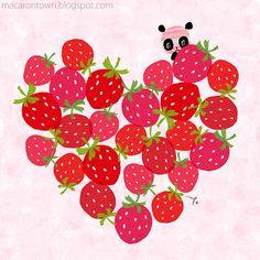 Panda peeking around a heart made of strawberries