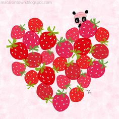 Panda peeking around a heart made of strawberries