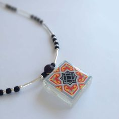 Spanish Tile, Glass and Silver Beaded Necklace - Handmade