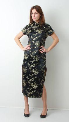 445ac8acf656b Cheongsam Dress / China Dress / Chinese Dress / Asian Dress / Black Floral  Dress / Silk Dress / Traditional Dress / Dress L / Ceasar Dress