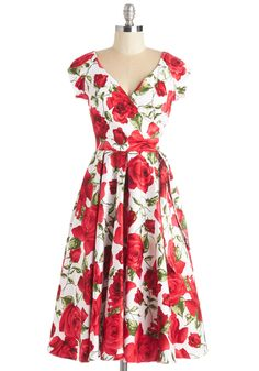 Layered Cupcakes Dress in Red and White. Sweet as a tiered dessert spread, this fit and flare adds delight to the day. #red #modcloth