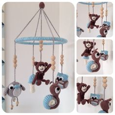 Uro Crochet Baby Mobiles, Crochet Mobile, Crochet Toys, Amigurumi Patterns, Crochet Patterns, Baby Gifts To Make, Dummy Clips, Crochet Quilt, Baby Room Decor