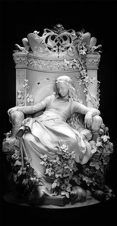 greek statue sleeping beauty Deng Lei on ArtStation at Foto Fantasy, Fantasy Kunst, Fantasy Art, Bel Art, Images Esthétiques, Renaissance Kunst, Cemetery Art, Cemetery Statues, Art Sculpture
