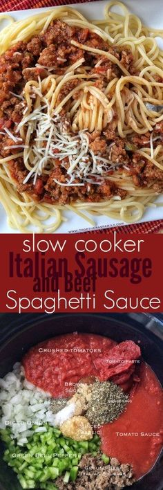 {Slow Cooker} Italian Sausage and Beef Spaghetti Sauce - Together as Family