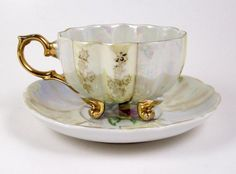 Vintage Tea Cup Yellow Rose Tripod Footed Cup Interior Floral Yellow Luster