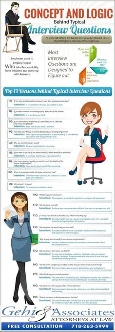The Logic Behind 19 Common Interview Questions What is the Logic Behind The Most Popular Interview Questions? [INFOGRAPHIC] – CareerAdvisorDaily The Logic Behind 19 Common Interview Questions Typical Interview Questions, Interview Skills, Job Interview Tips, Job Interviews, Interview Weakness Answers, Preparing For An Interview, Interview Questions For Employers, Interview Tips Weaknesses, Management Interview Questions