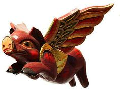 flying pigs, also known as sprit chasersare hand-carved from balsa wood pieces, and hand painted. In Indonesian tradition the flying pig spirit chaser protects sleeping children from evil spirits, assuring their safe return to this reality.