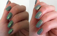 Gold to Green topcoat over Rimmel Grey Matter.