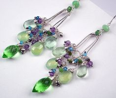 Wire Wrap Gemstone Chandelier Earrings by TownCountryJewelry, $199.00