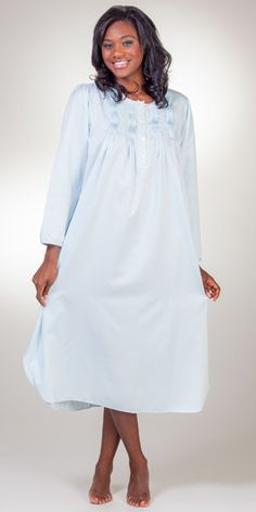 Brushed Back Satin Miss Elaine Pintucked Long Nightgowns in Blue Nightgowns dbc4d5ffc
