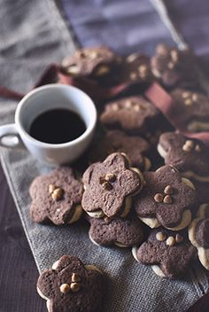 Hazelnut and dark cocoa cookies with white chocolate drops.  SDPHOTO.it Fotografia Food