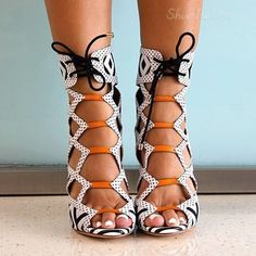 Shoespie Assorted Color Lace-up Peep-toe Dress Gladiator Sandals From the Plus Size Fashion Community at www.VintageandCurvy.com