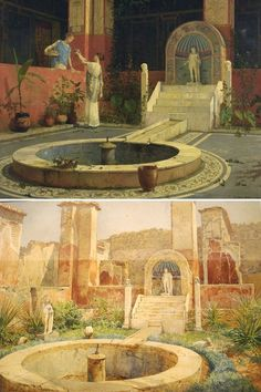 Roman house courtyard, by Luigi Bazzani Ancient Ruins, In Ancient Times, Ancient Rome, Ancient Greece, Ancient History, Roman Architecture, Ancient Architecture, Rome Antique, Pompeii And Herculaneum
