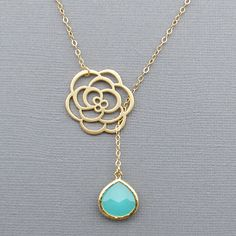 Flower Lariat Necklace and Mint Gemstone
