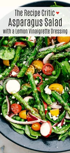 This fresh asparagus salad is one of my favorites and I can& wait to show you how to make it. With lemon vinaigrette dressing drizzled on top this salad has a light and flavorful crisp crunch in every bite. Healthy Eating Recipes, Healthy Cooking, Cooking Recipes, Fresh Asparagus, Asparagus Recipe, Salad With Asparagus, Kale Salads, Lemon Vinaigrette, Vinaigrette Dressing